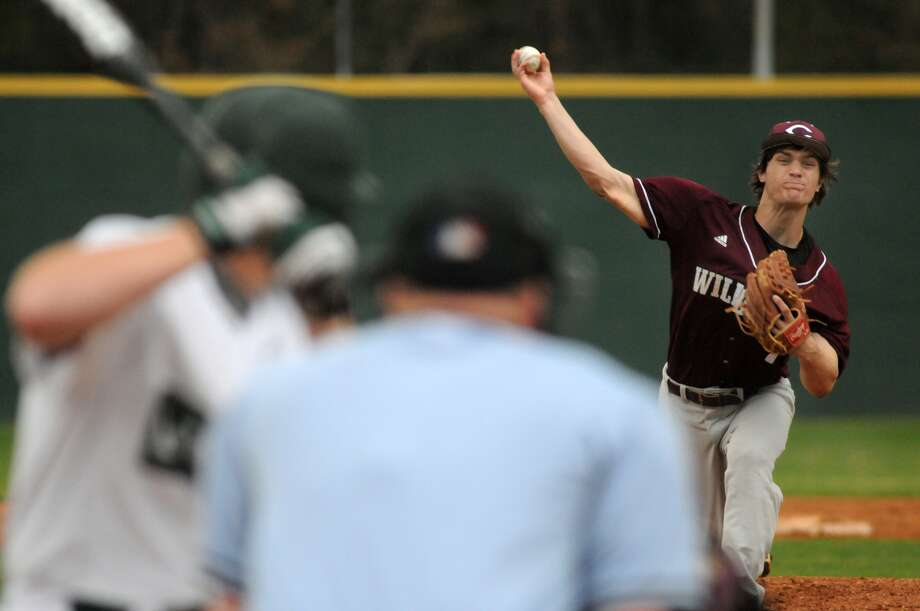 Clear Creek's Landon Etzel pitched against a Spring hitter during a recent game. Photo: Jerry Baker, Freelance