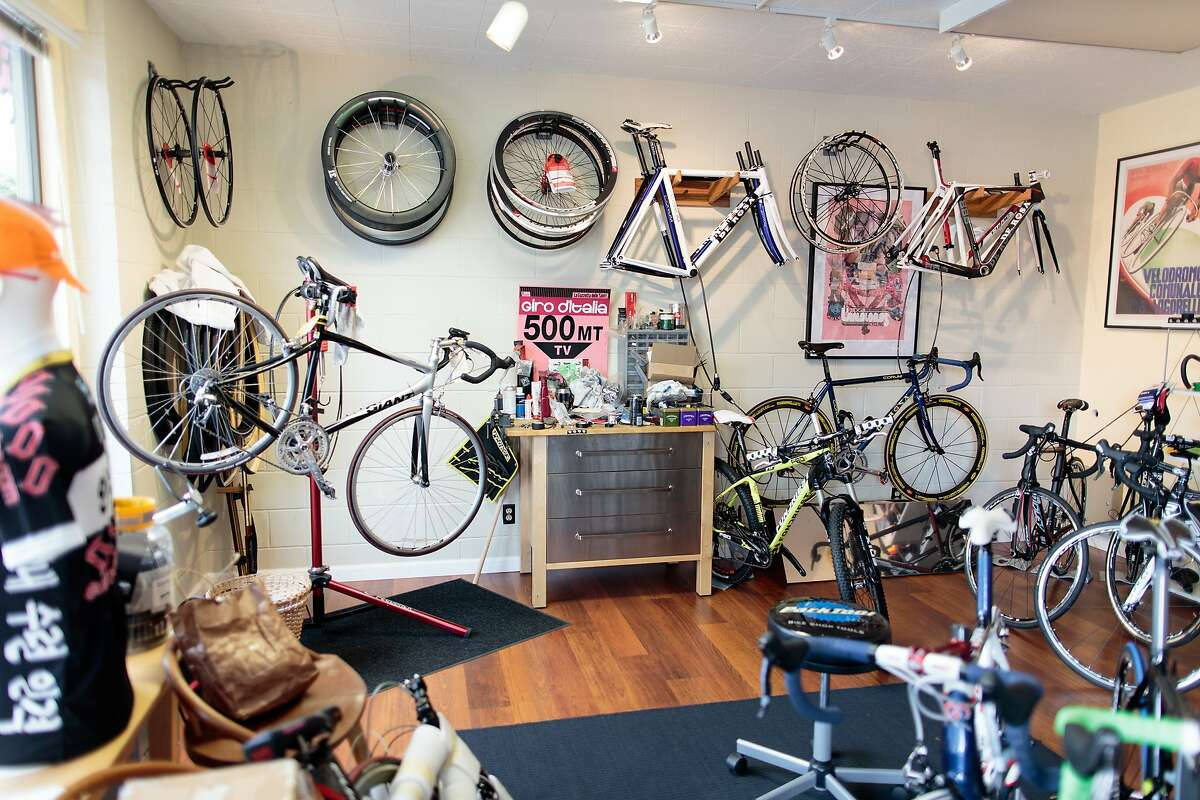 Red Lantern Cycles owner Matt Barkley has been building and fitting bicycles for over 15 years. The Menlo Park shop is also a full-service bike shop, so bikes can get a tweak or a full tuneup while riders hover by the Pavoni espresso machine.