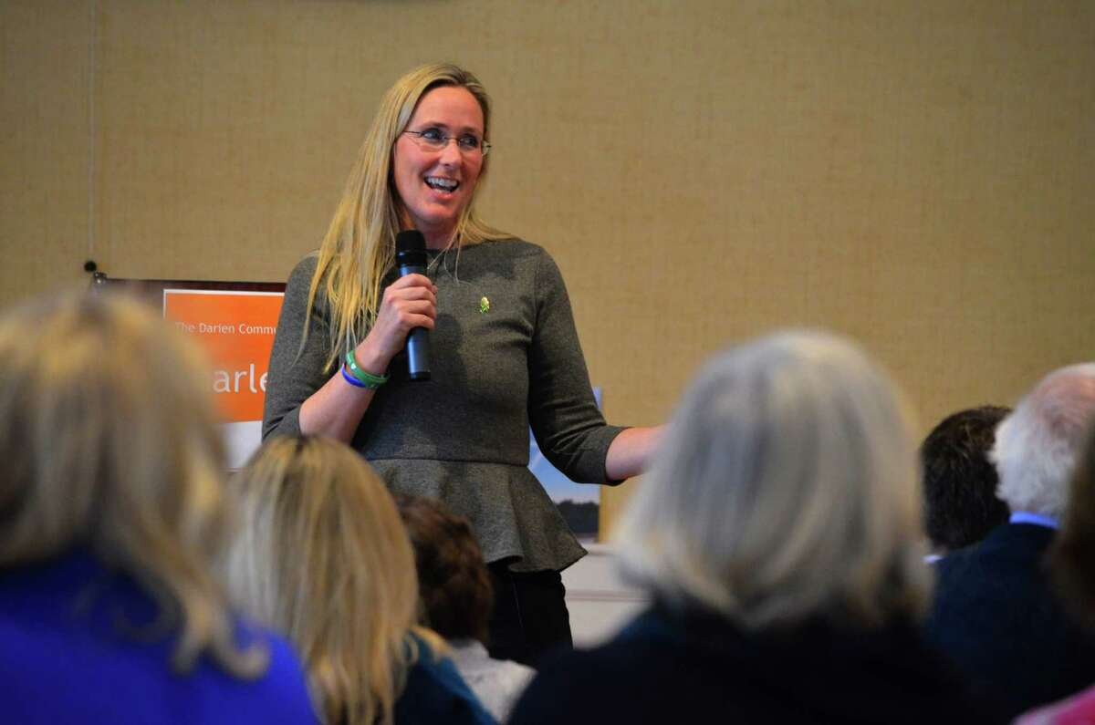 Scarlett Lewis, a mother of one of the slain first graders in Sandy Hook Elementary School, spoke to a group at the Darien Community Association about her journey in the aftermath of Dec. 14, 2012.