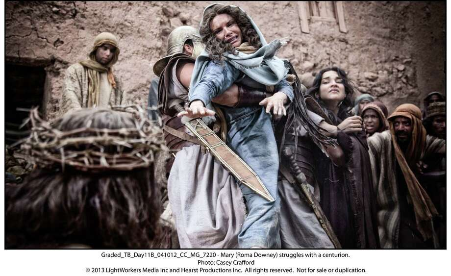 """Roma Downey as Mary in a scene from """"Son of God."""" Photo: Photo: Casey Crafford, Unit Stills Photographer / © 2013 LightWorkers Media Inc and Hearst Productions Inc.  All rights reserved.  Not for sale or duplication."""