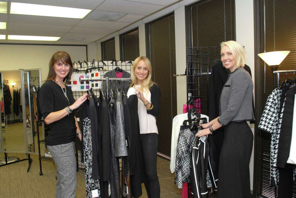 Memorial-area image and style consultant Rebecca Matthews, left, and her employees Emily Elliott and Natalie Daniels help clients put zip in their attire.Memorial-area image and style consultant Rebecca Matthews, left, and her employees Emily Elliott and Natalie Daniels help clients put zip in their attire.