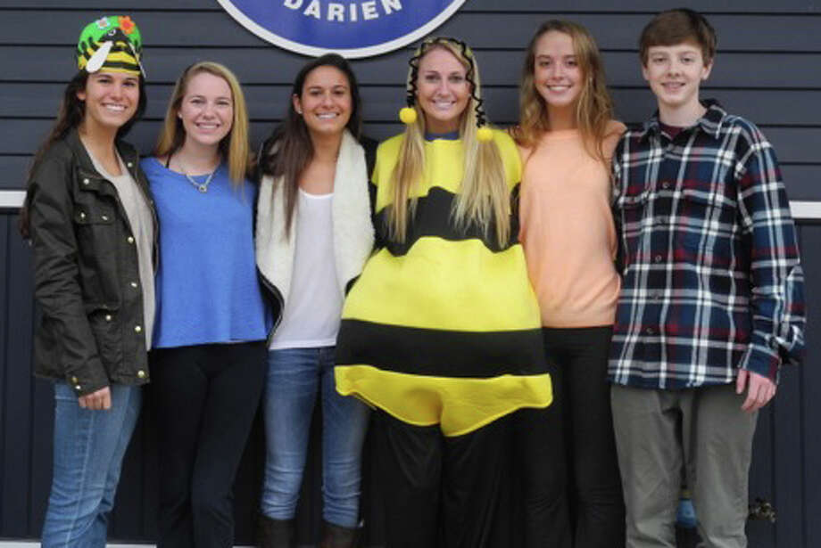 Preparing for the fifth annual Spelling Bee Sunday, March 2, are, from left, Eliza Wisinski, Kat Culliton, Caroline Tortorella, Claire Culliton, Allie Parsley and Michael Parsley. Photo: Contributed Photo, Contributed / Darien News