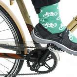 One of Diana LaVigne's bike socks. LaVigne is expecting her second child.