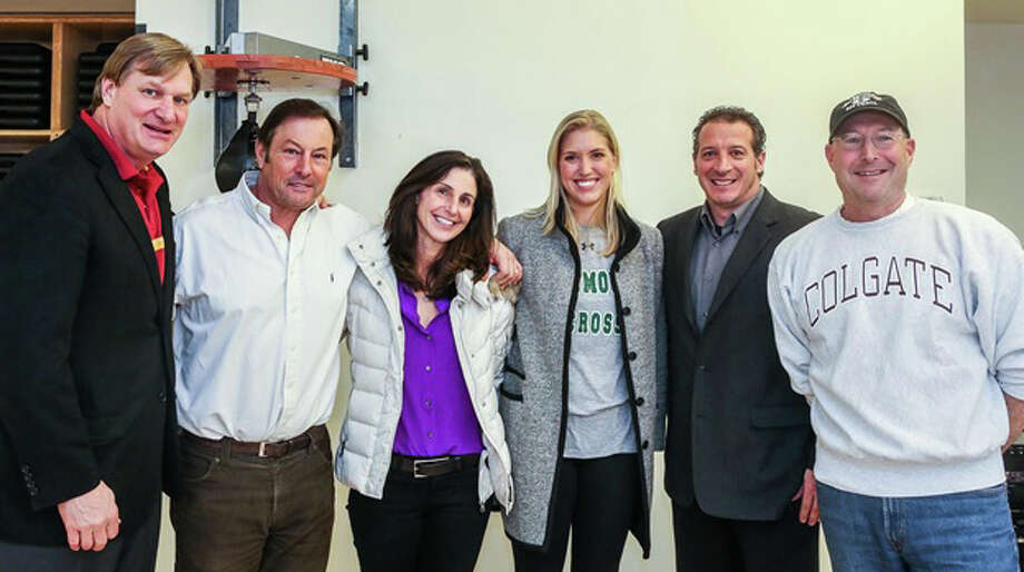 Equinox Darien and Competitive Edge recently hosted a panel with athletes and coaches to address the myths and realities of the college recruiting process. Participating were, from left, Lee Jones, Competitive Edge; Rob Trifone, head football coach at Darien High School; Marj Trifone, head girls swimming coach at Darien High School; Courtney Bennett, former Darien High School lacrosse player; Eric Pellini, assistant track coach at New Canaan High School; and Kevin Rusch, owner of Competitive Edge. Photo: Contributed Photo, Contributed / Darien News