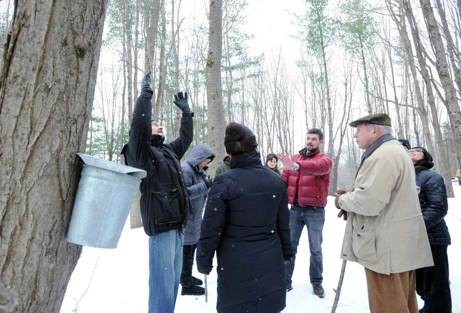 At center, Steve Conaway, stewardship & outreach manager for the Greenwich Land Trust, leads a winter nature walk at Duck Pond Hill, Greenwich, Conn., Tuesday, Feb. 25, 2014. Conaway spoke about how wildlife survives the winter and how to identify trees and plants without their leaves. Photo: Bob Luckey / Greenwich Time