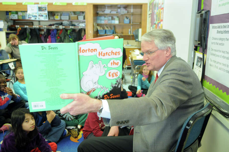 "Greenwich Superintendent of Schools William McKersie reads Dr. Seuss' ""Horton Hatches the Egg"" to the third grade at New Lebanon School in Greenwich, Conn., Feb. 25, 2014. Photo: Keelin Daly / Stamford Advocate Freelance"