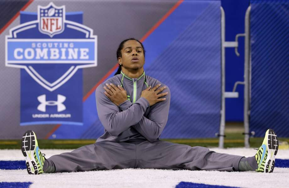 Texas Christian defensive back Jason Verrett warms up at the NFL football combine on Tuesday. Photo: Michael Conroy, Associated Press