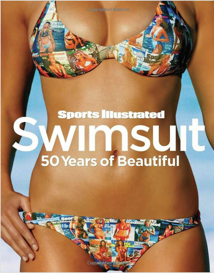 "The ""Covers Suit"" by Letarte Swimwear features covers of all 50 Sports Illustrated Swimsuit editions. The Fairfield-based swimsuit maker designed the material and had a company in Portugal make the fabric, weaving the images into it. Seen above, one of two bikinis produced  is on the cover of an SI 50th anniversary coffee-table book released in October. Photo: Contributed Photo / Fairfield Citizen contributed"