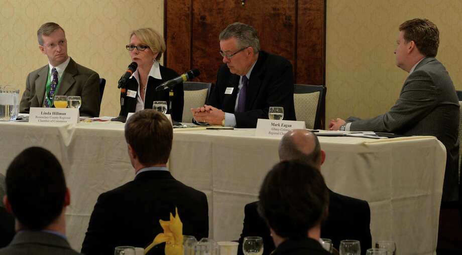 Local Chamber of Commerce heads discussed the State of the Region Tuesday morning, Feb. 25, 2014, at the Century House in Colonie, N.Y.  From left to right;  Todd Shimkus, Saratoga County Chamber of Commerce;  Linda Hillman, president of the Rensselaer County Regional Chamber of Commerce;  Charles P. Steiner president and CEO, Schenectady County Chamber of Commerce and Mark N. Eagan, president and CEO, Albany-Colonie Regional  Chamber of Commerce.  (Skip Dickstein / Times Union) Photo: SKIP DICKSTEIN / 00025872A