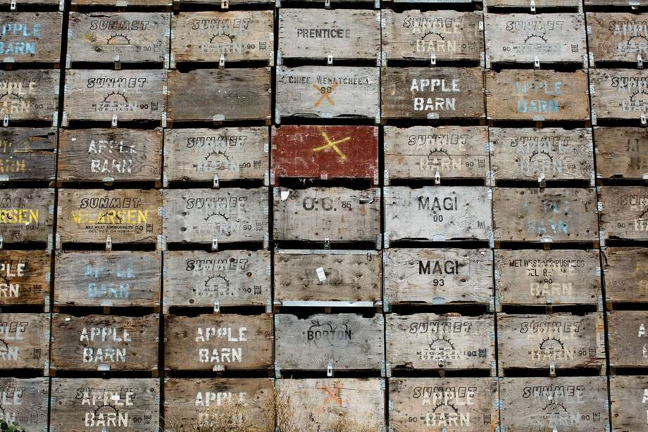 Boxes are stacked at Larsen farm in El Dorado County's Apple Hill district, where 50 years ago pear trees gave way to apple trees. Photo: Jason Henry, Special To The Chronicle