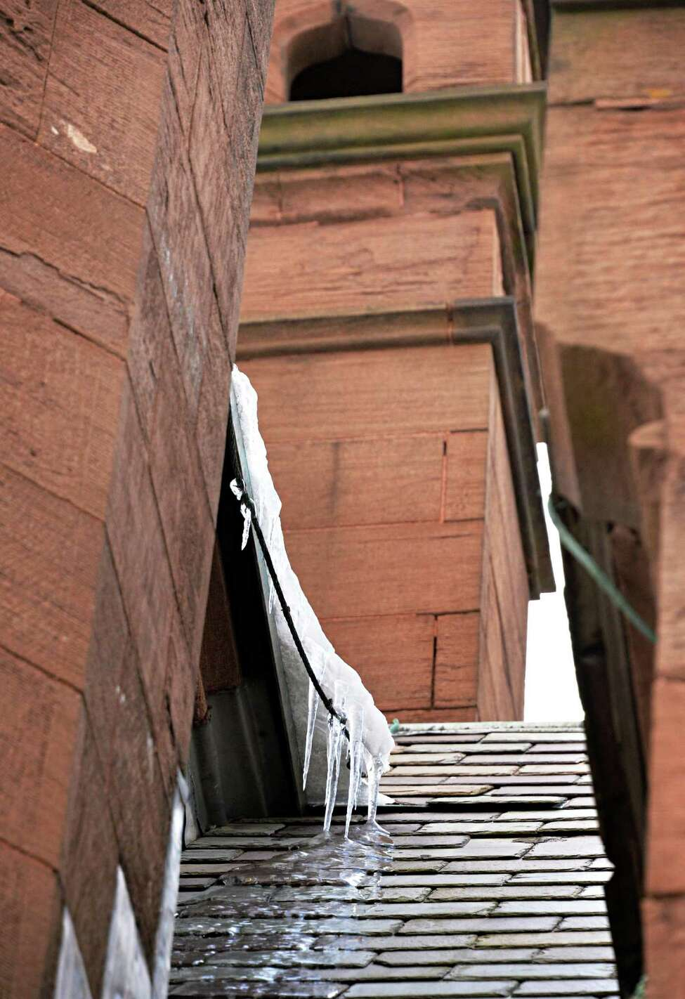 Some ice is visible on the roof of the Cathedral of the Immaculate Conception Tuesday, Feb. 25, 2014, in Albany, N.Y. (John Carl D'Annibale / Times Union)
