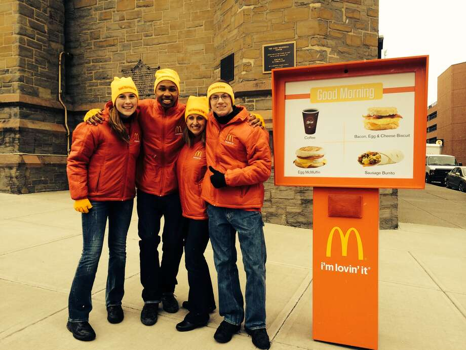 """Caption for """"McD's Good Morning Albany – Crew Photo.jpg"""" Local McDonald's employees star in new commercials promoting breakfast at McDonald's. Corinna Collins and Brian Carter (left), Crew Members of the Mechanicville restaurant, are joined by Heather Beaulieu of Maine and Joshua Hulett (right), Crew Trainer at the Ballston Spa McDonald's."""