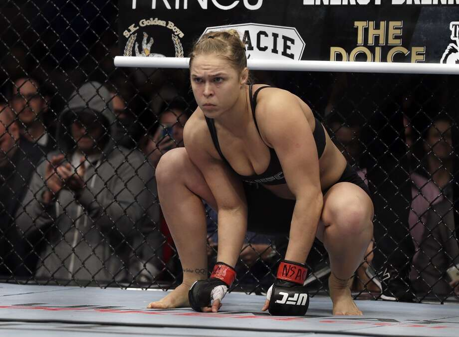 Ronda Rousey prepares for a UFC 170 mixed martial arts women's bantamweight title fight against Sara McMann on Saturday, Feb. 22, 2014, in Las Vegas. (AP Photo/Isaac Brekken) Photo: Isaac Brekken, Associated Press
