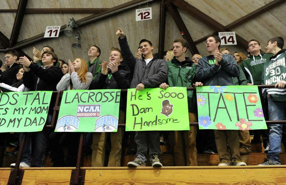 Shenendehowa fans cheer for their team during the section ll hockey final against Saratoga at Union College on Tuesday, Feb. 25, 2014 in Schenectady, N.Y.  (Lori Van Buren / Times Union) Photo: Lori Van Buren / 10025885A
