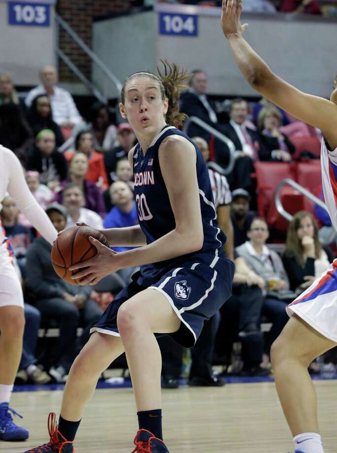 Connecticut forward Breanna Stewart (30) drives during the first half of an NCAA college basketball game against SMU Tuesday, Feb. 25, 2014, in Dallas. (AP Photo/LM Otero) Photo: LM Otero, Associated Press / Associated Press