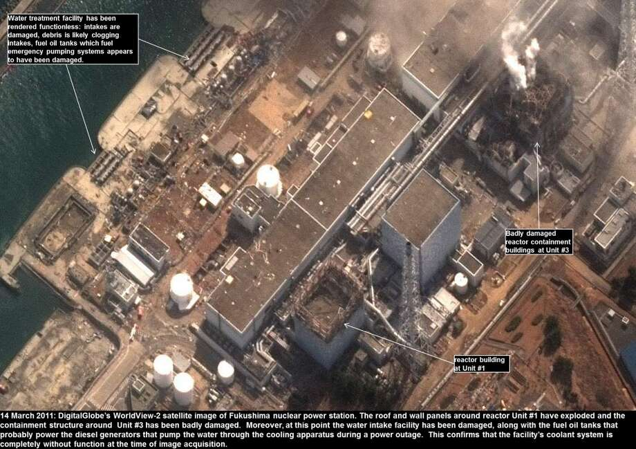 This is a satellite image of the Fukushima Daiichi Nuclear Power Plant, Okuma, Fukushima, Japan.  This image is showing the damage that occured to the reactors.  Collected on March 14, 2011.  (Photo DigitalGlobe via Getty Images) Photo: DigitalGlobe, DigitalGlobe/Getty Images