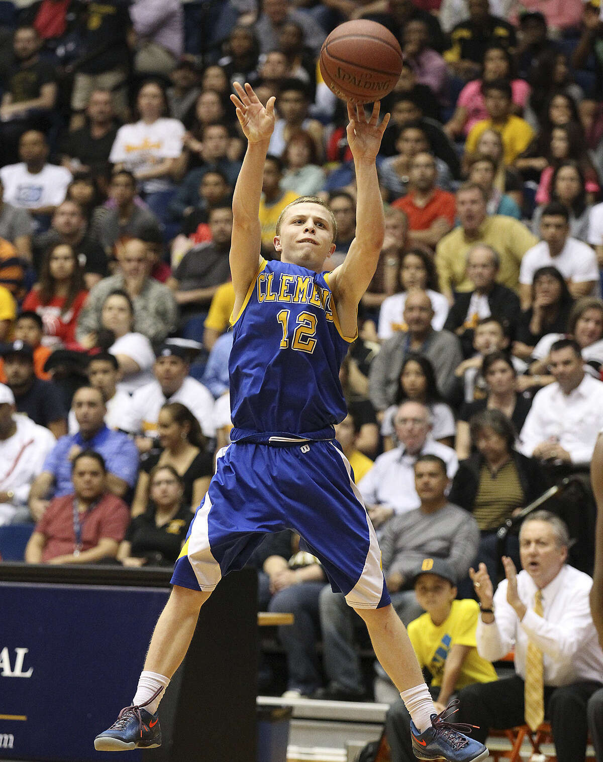 Mitchell McMullen, who had 12 points, takes a shot in Clemens' 88-66 win over Brennan at the UTSA Convocation Center.