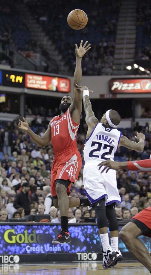 Feb. 25: Rockets 129, Kings 103Rockets shooting guard James Harden attempts a shot over Isaiah Thomas of the Kings. Photo: Rich Pedroncelli, Associated Press