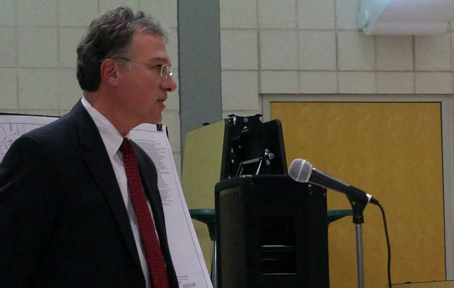 Lawyer David Quatrella addresses the Town Plan and Zoning Commission on an application to change the zone classification of a residential property on Spruce Street to commercial use for a parking lot. Photo: Genevieve Reilly / Fairfield Citizen