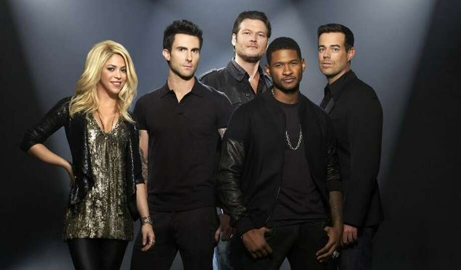 The four judges on this season and host Carson Daly. Photo: NBC