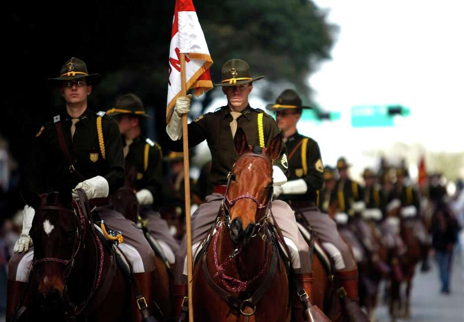 The Texas A&M Parsons Mounted Cavalry during the 2013 Downtown Rodeo Parade Saturday, Feb. 23, 2013, in Houston.  ( Johnny Hanson / Houston Chronicle ) Photo: Johnny Hanson, Staff / © 2013  Houston Chronicle