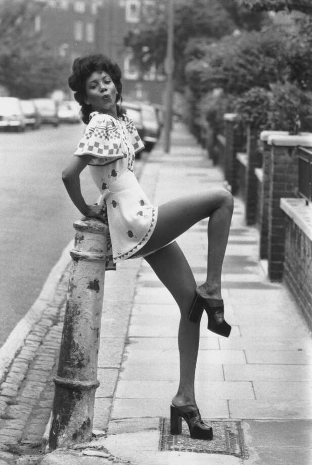 Fashion model Hazel wears a crepe playsuit from Ossie Clark's 'Quorum' fashion show held in London. Photo: Frank Barratt, Getty Images