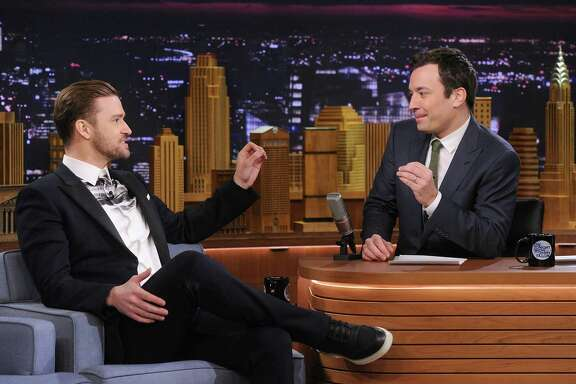 "Actor/musician Justin Timberlake, left, is interviewed by host Jimmy Fallon on the ""Tonight Show."""