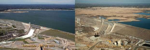 These two photos of northern California's Lake Folson reservoir show the effects of drougs in the past 2.5 years. In July 2011, it was 97 percent full but had receded to 17 percent of capacity in January 2014. Photo: California Department of Water Resources