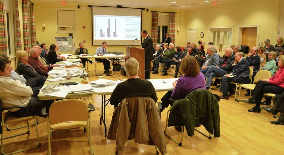 Tom Schulte speaks against a YMCA renovation project at a public hearing held by the Planning and Zoning Commission Feb. 25 at Lapham Center, in New Canaan, Conn.Schulte, who's also an alternate member for the Board of Finance, lives near the YMCA and finds the organization's current renovation project not safe due to the number of children in the area. Photo: Nelson Oliveira / New Canaan News