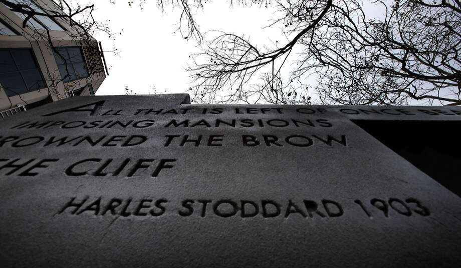 A historical marker on Rincon Hill is missing a letter in the name of 19th century S.F. writer Charles Stoddard. Photo: Carlos Avila Gonzalez, The Chronicle