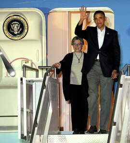 Sen. Barbara Boxer and President Obama in February at Palm Springs International Airport.