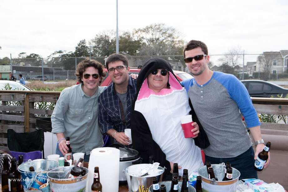 Sean McElwrath, Daniel Sartor, Nathan Ray and Casey Trammel at Casa Esperanza's Young Professionals 4th Annual Chili Cook-Off on Feb. 22 at Cottonwood. (Photo: Meredith Flaherty Photography)