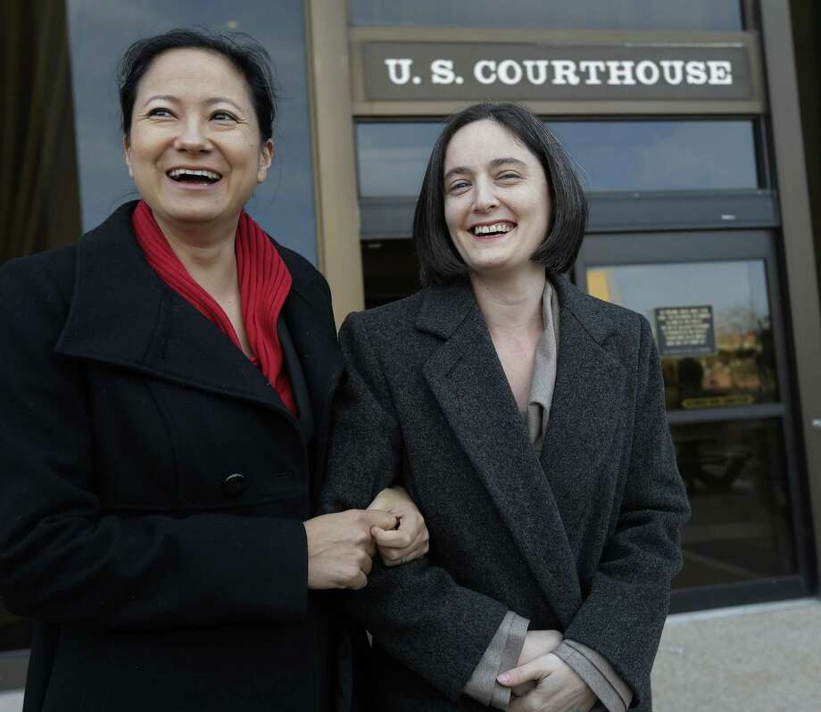 Cleopatra De Leon (left) and  Nicole Dimetman challenged the ban. With his ruling, U.S. District Judge Orlando Garcia is on the right side of history. Photo: Eric Gay / Associated Press / AP
