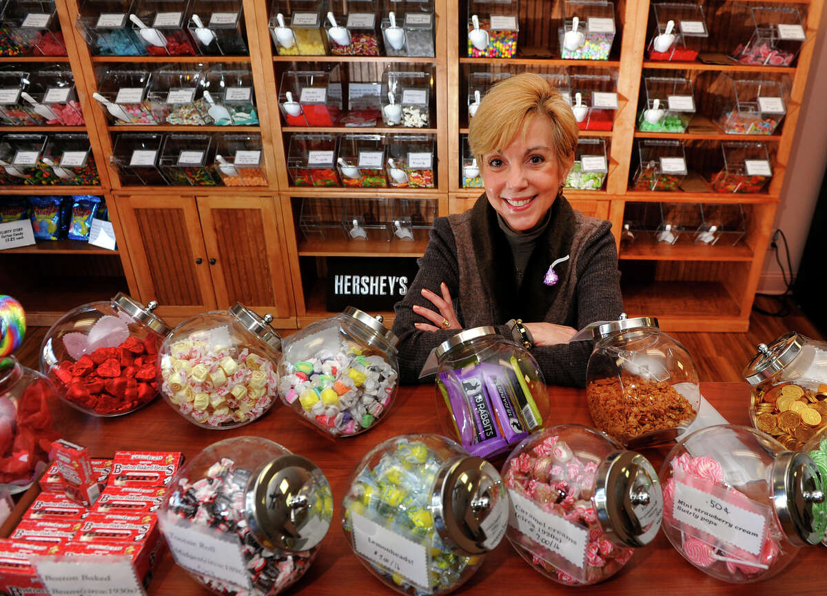 Donelle Toner poses in her candy shop, Grandma Josie's, in Monroe, Conn. on Wednesday February 26, 2014. Toner just opened two weeks ago.