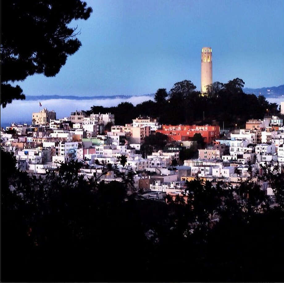 "San Francisco's hills allow for some fantastic vantage points. Mike S., or @msmitheman, took this photo from Nob Hill facing Coit Tower and North Beach on ""an unseasonably warm and clear February evening."""