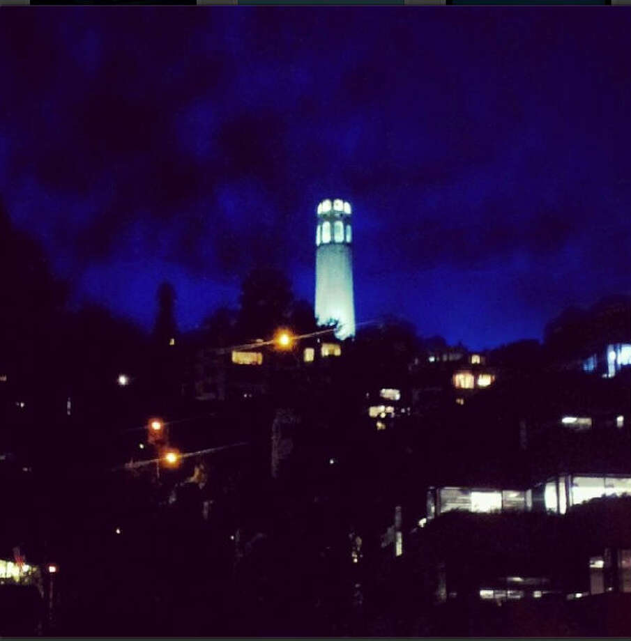 Sitting atop Telegraph Hill, Coit Tower is one of the most visible monuments in San Francisco. Albert C., or @phat_albert, took this shot of Coit Tower glowing blue  in the middle of the night.