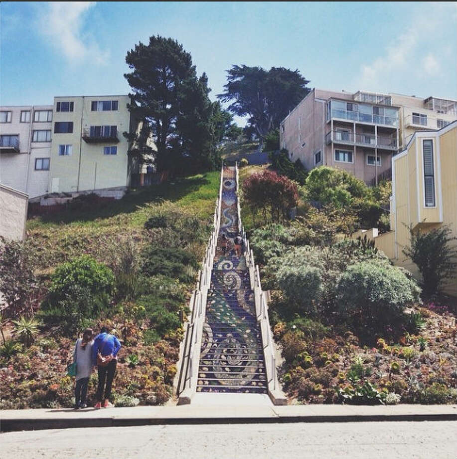 "The mosaic stairway in Golden Gate Heights is one of the unknown treats to visit in San Francisco. Joanna S., who took this photo under the moniker @jomamas, writes: ""I love this Moraga tiled steps project because it shows how much the Sunset District loves their neighborhood. This leads up to a park where the views are as grand as it gets!"""