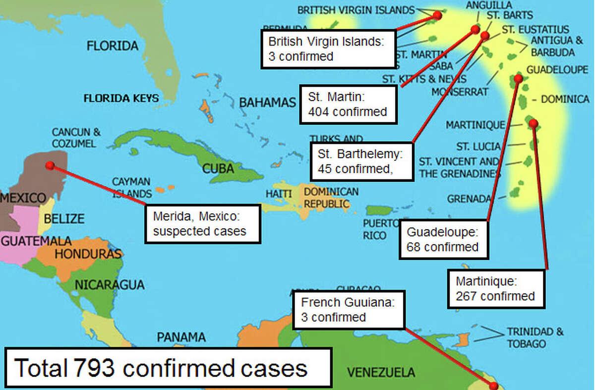 Spread of the virus in teh Caribbean from Oct. 2013- present. (UTMB)