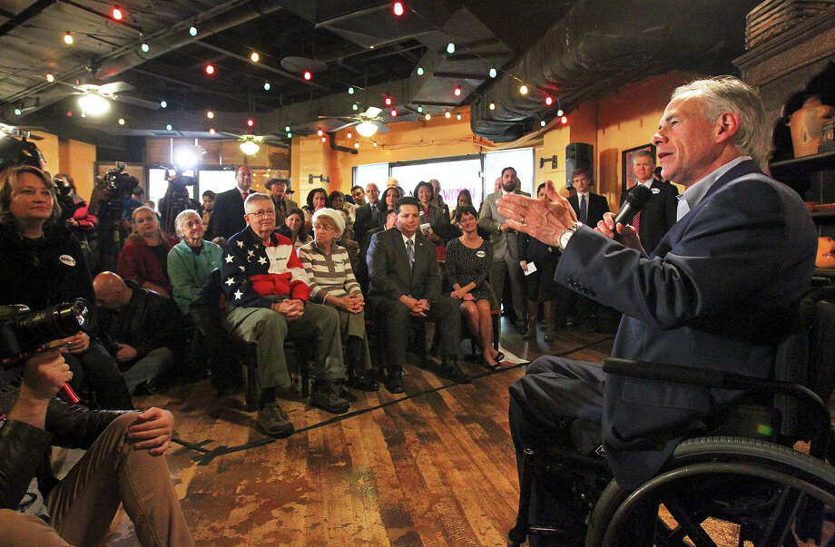 Attorney General Greg Abbott leads a get out the vote rally at Rita's on the River on February 26, 2014. Photo: TOM REEL
