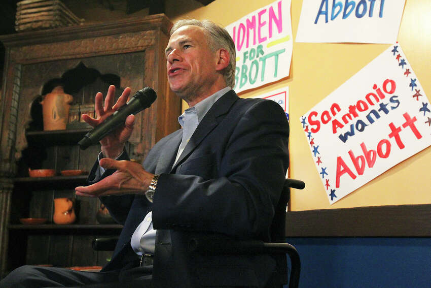 Attorney General Greg Abbott leads a get out the vote rally at Rita's on the River on February 26, 2014.