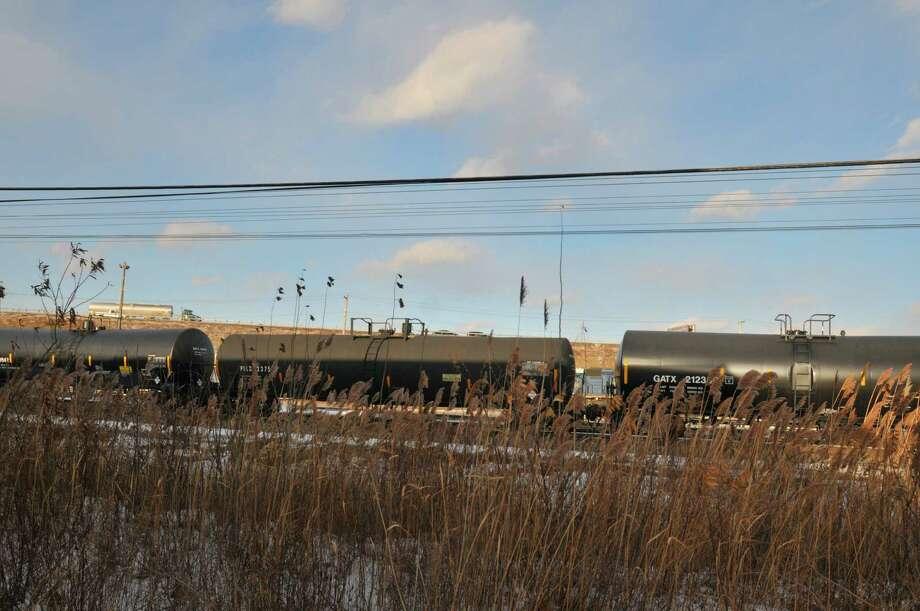 A view of some tanker train cars in a rail yard off of Interstate 90 near Everett Rd. on Tuesday, Jan. 7, 2014, in Albany, N.Y.   (Paul Buckowski / Times Union) Photo: Paul Buckowski / 00025276A