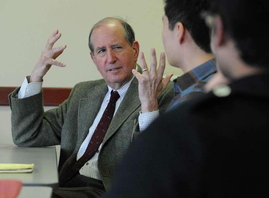 Alfred Sommer, a renowned public health expert, speaks with health students at Union College on Wednesday, Feb. 26, 2014, in Schenectady, N.Y. Sommer will be speaking at the school tomorrow.  (Lori Van Buren / Times Union) Photo: Lori Van Buren / 00025904A