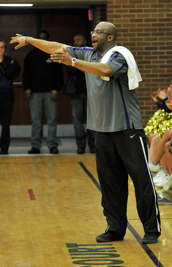 Westhill head coach Howard White shouts orders to his team during their game against Trinity Catholic at Trinity Catholic High School in Stamford, Conn., on Wednesday, Feb. 26, 2014. Westhill won, 67-63. Photo: Jason Rearick / Stamford Advocate