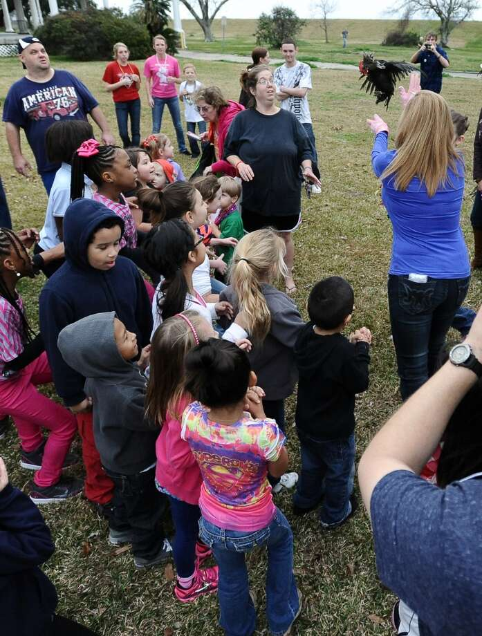 "Patricia ""Tecoo"" Saucier Leger tosses the chicken that starts the courir parade down Lakeshore Drive in front of many excited children on Thursday, February 7,2013, in Port Arthur. Photo taken: Randy Edwards/The Enterprise"