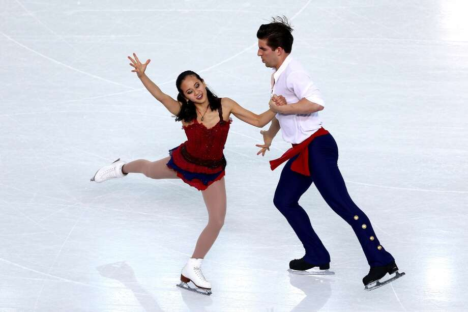 "WORST: The USA's Felicia Zhang and Nathan Bartholomay performed in the pairs free skate program to ""Les Miserables"" and tied their clothing to the period, but she looks more like a can-can dancer and he looks like a pirate. Photo: Clive Mason, Getty Images"