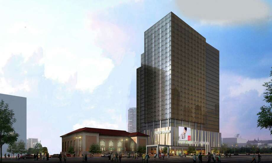 Artist's rendering of the first phase of a proposed luxury housing tower near the site of the historic downtown post office in Stamford. Photo: Contributed Photo / Stamford Advocate