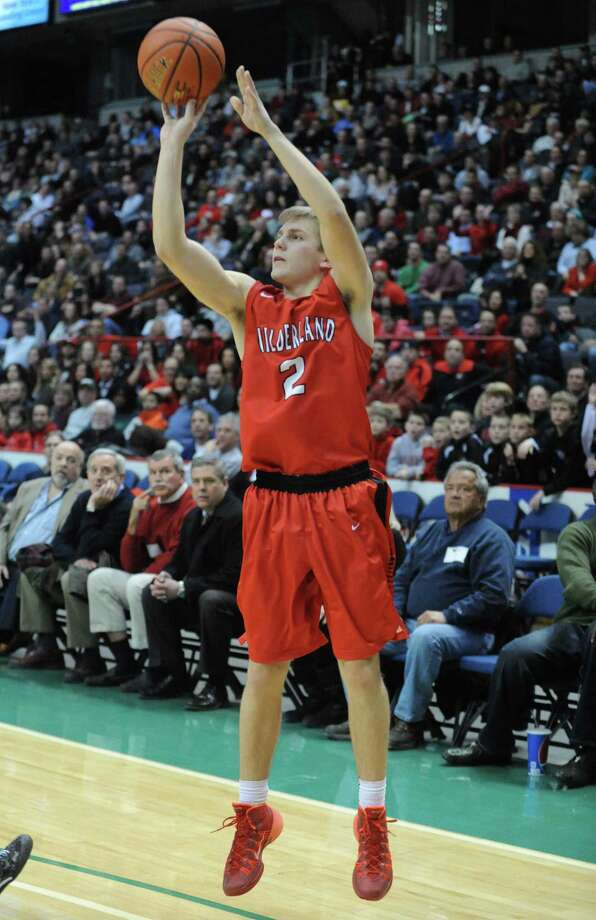 Guilderland's Bill Floyd shoots a three during their Class AA boys' basketball semifinal against Columbia at the Times Union Center on Wednesday Feb. 26, 2014 in Albany, N.Y. (Michael P. Farrell/Times Union) Photo: Michael P. Farrell / 00025909A