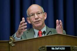 Rep. Peter DeFazio, R-Ore., chairman of the House Subcommittee on Highways and Transit, questions a panel of oil industry economists on the rising price of diesel fuel and its impact on the trucking industry on Capitol Hill in Washington, Tuesday, May 6, 2008.  (AP Photo/J. Scott Applewhite)