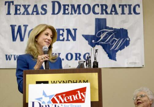 Senator Wendy Davis, speaking, joined Sen. Leticia Van de Putte  at the Texas Democratic Women's Convention  in Austin, Texas on Saturday, Feb. 22, 2014. (AP Photo/Austin American-Statesman, Laura Skelding) Photo: Laura Skelding, Associated Press