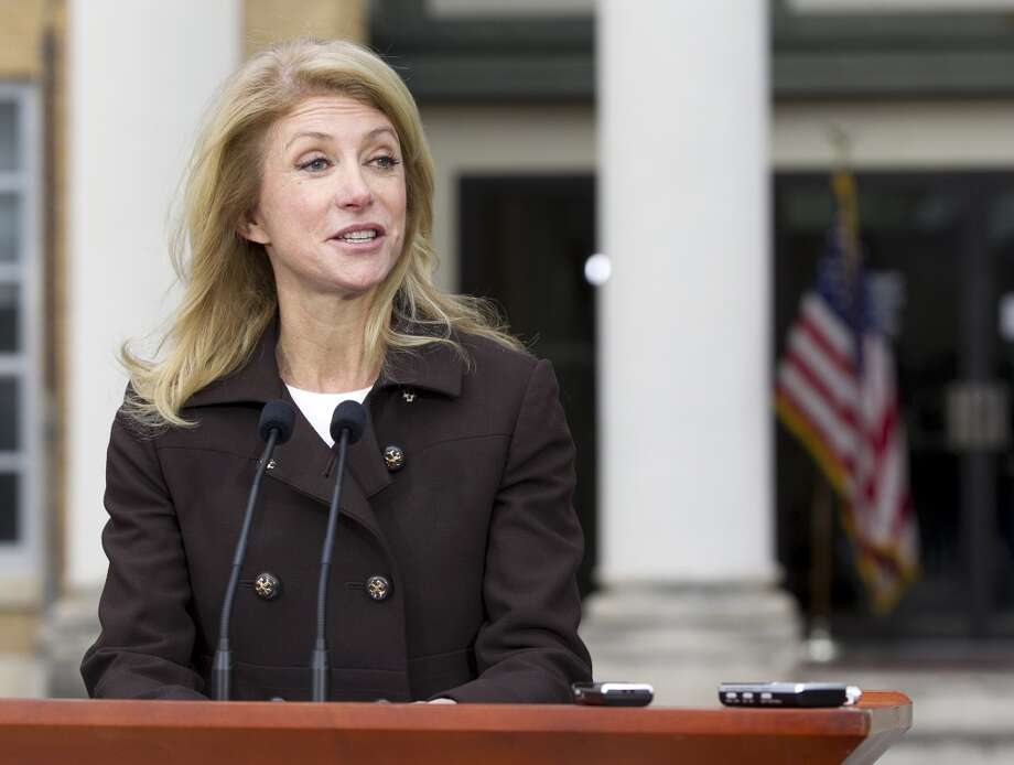 Texas State Sen. Wendy Davis  talks to the media during a news conference at the Austin Community College Rio Grande Campus, Monday, Feb. 10, 2014, in Austin, Texas. (AP Photo/Austin American-Statesman, Deborah Cannon) Photo: Deborah Cannon, Associated Press